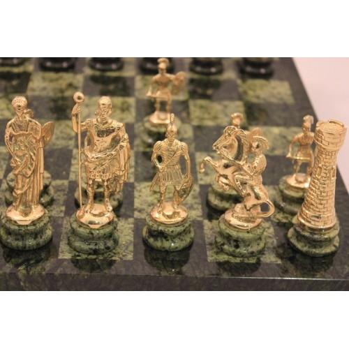 "Шахматы ""Змеевик + бронза-1"" , большие (41.5 х 41.5 см.)"
