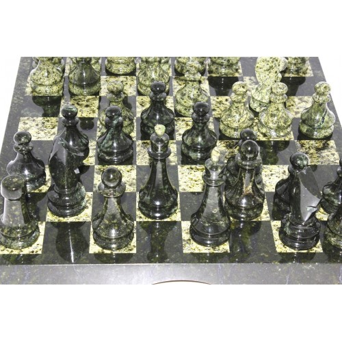 Шахматы змеевик (малые) 29.5 х 29.5 см