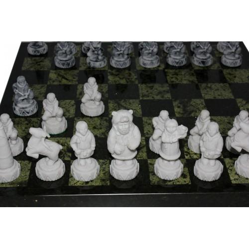 Шахматы змеевик+ мрамор, средние