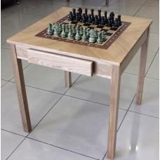 Шахматный стол + фигуры(змеевик с бронзой) + шашки