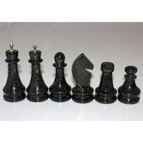 """Шахматные фигуры """"Змеевик+бронза"""" большие(32 шт.)"""